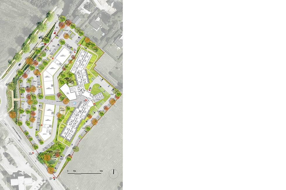 Construction de logements Seniors, commerces et bureaux, à Isneauville (76)